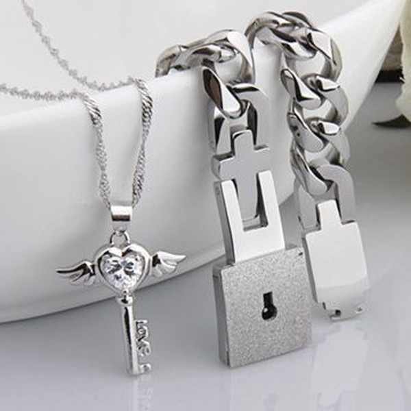 334477833b New Cute Couples Jewelry Sets Silver His and Hers White Cubic ...