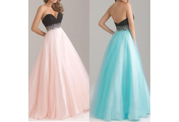 Pink/Green/Black/Apricot Women Sexy Strapless Backless Sleeveless Party Wedding Maxi Dress Evening Dress