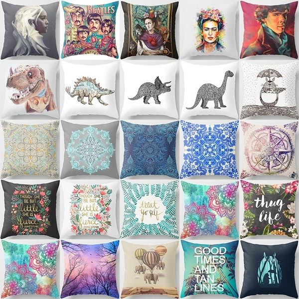 Picture of 18 Inches Decoration Pillow Dinosaur Pattern Linen Blend Throw Pillow Case Living Room Sofa Cushion Cover