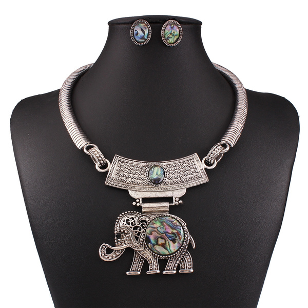 cb49e067a8f7a Elephant Jewelry Set Women's Retro Tibetan Silver Turquoise Elephant  Pendant Necklace Stud Earrings Jewelry Sets