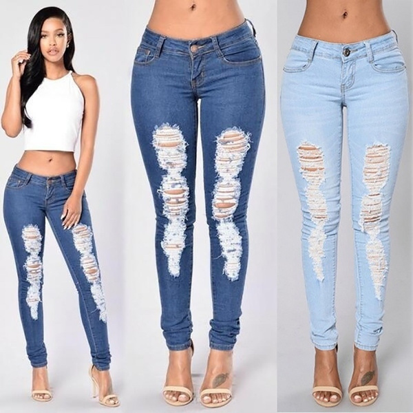 f6bfeeb54329 High Waist Autumn Blue Skinny Tight Long Jeans Pencil Stretch Ripped ...