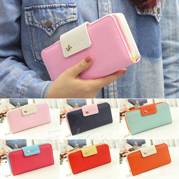 Picture of Women Pu Leather Cute Buckle Long Purse Clutch Button Wallet Bag Card Holder