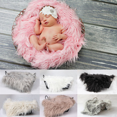 Baby Newborn Faux Fur Photography Photo Props Blanket Basket Stuffer Rug Beanbag Background Backdrop