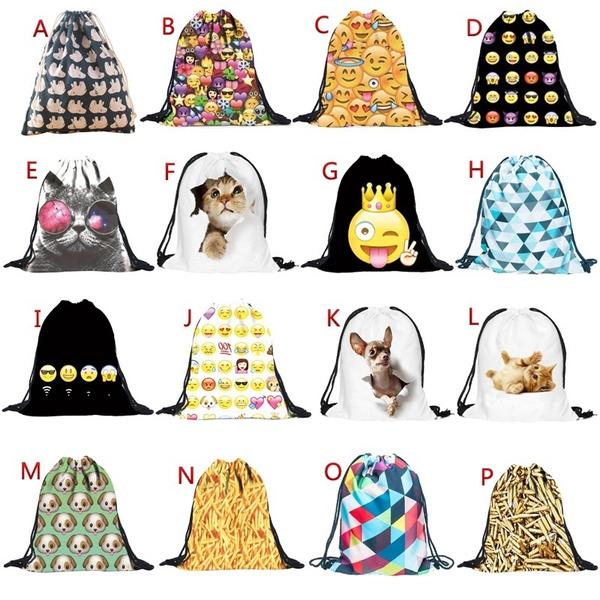 Picture of Unisex Emoji Backpacks 3d Printing Bags Drawstring Backpack