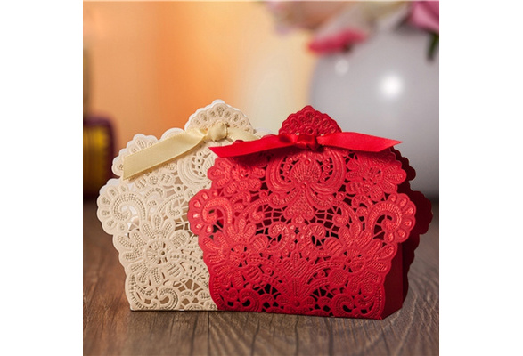 50pcs Red/ White/ Gold Lace Wedding Favor Boxes Wedding Candy Box Casamento Wedding Favors And Gifts