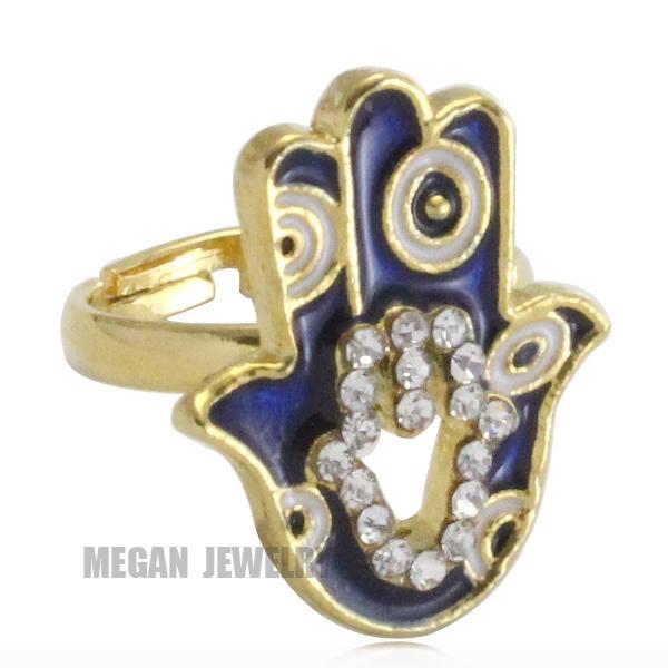 18K gold plated Muslim turkey Evil Eye Hamsa Hand Of Fatima crystal ring  for men & women, Islam jewelry & gift