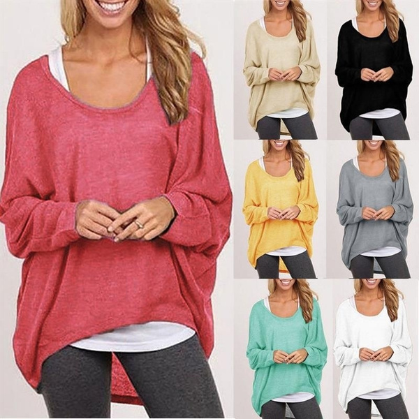 Wish | Women Ladies New Oversized Loose Long Sleeve Shirt Blouse ...