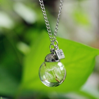 Picture of Dandelion Glass Bottle Living Memory Necklace