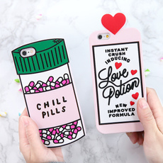 For iPhone 7 7 Plus Creative Cute 3D Funny Love Potion Chill Pills Bottle Soft Silicone Case Cover For iPhone 5 5S SE iPhone 6 6S Plus Samsung Galaxy S6 S7 Edge Plus Note 5 4 3 A7 A8