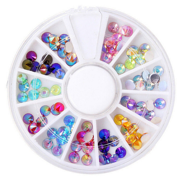 12 Color 3D Nail Art Tips gems Crystal Glitter Rhinestone DIY Wheel Best Gift For You