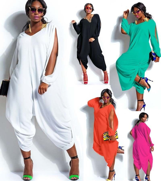 Picture of Fashion Womens Long Sleeve Romper Baggy Harem Jumpsuit Playsuit Dress Plus Size