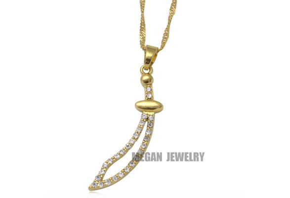 style-1 IMAM ALI//Zulfiqar Sword//Small Elegant 18k Gold plated Pendant necklace
