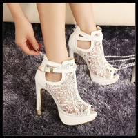 New Lace Women Platform Pums Sandals White Mesh Black High Heels Peep Toe Shoes