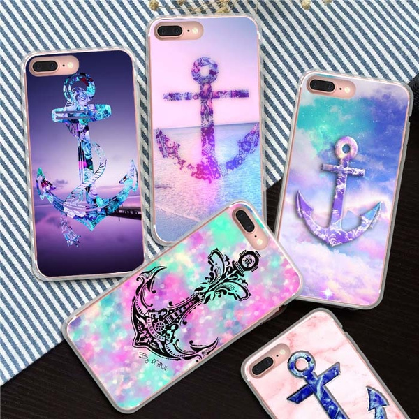 Picture of Beautiful Ship's Anchor Pattern Printed Phone Case Iphone 7/7 Plus 5 5c 6/6s 6 Plus/samsung Galaxy S5 S6 S6 Edge Plus S7 S7 Edge S8 Plus / Note 5 4/a7 A8/ /Htc M9 Etc