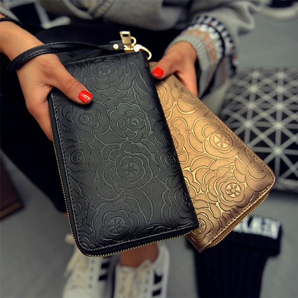 Picture of Camellia Pattern Zipper Wallet Long Style Purse Trendy Hand Bag Wallet