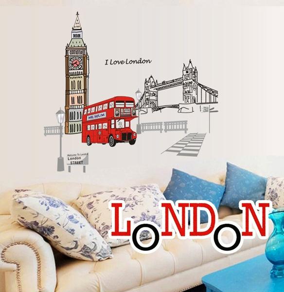 England London City Attractions Sightseeing Big Ben London Bus Towerbridge Wall Sticker Wallpaper
