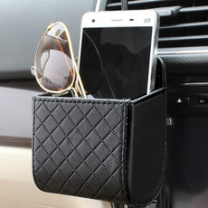 Universal Car Mobile Phone Bag DEDC PU Leather Car Auto Outlet Air Vent Trash Case Mobile Phone Holder Bag Pouch
