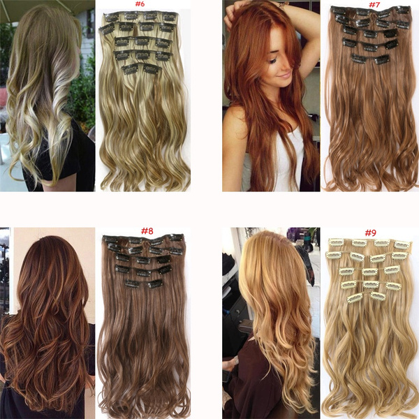 Geek 24 60cm Full Head Clip In Hair Extensions Synthetic Thick