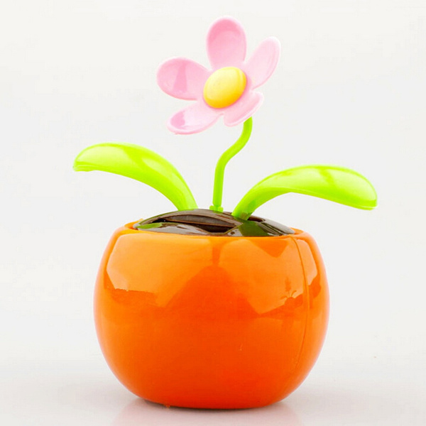 Wish & Solar Powered Flip Flap Flower Flowerpot Swing Dancing Toy For Cars Office Home