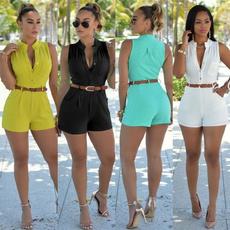 Summer, Plus Size, Shorts, button