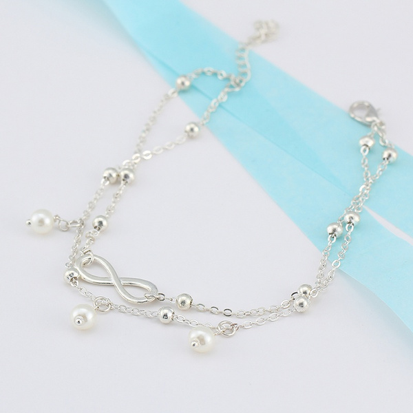 New Arrival Fashion Simple All-Match Infinity Anklet Creative Silver Plated Goldplated Double Chain Cross Shape Pretty Girl Summer Beach Travel Bracelet Jewelry