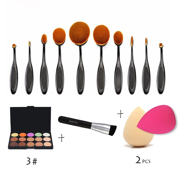 Picture of 15colors Concealer Palette+10pcs Toothbrush Shaped Makeup Brushes + 1 Oblique Brush+2 Sponge Puff