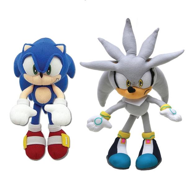 2pcs Set 20cm 32cm Silver Blue Sonic The Hedgehog Plush Toys Soft Stuffed Dolls Wish