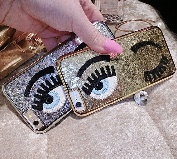 Bling Glitter Gossip Girl Sequins Eye Back Case Cover For iPhone 5 5s 6 6s Plus