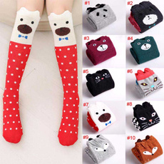 New Design Girl Boy Cartoon Cotton Knee High Middle Tube Socks For Children