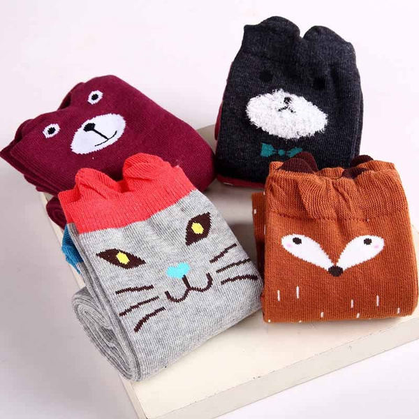 New Design Girl Boy Cartoon Cotton Knee High Middle Tube Socks For Children