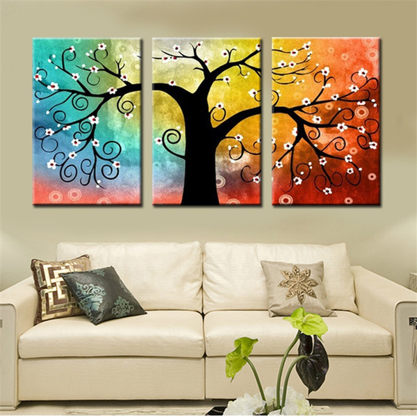 Unframed Lucky Tree Home Decoration Wall Canvas Art For Living Room Canvas Printing Modern Cheap Pictures 3 Pieces Cuadros Decorativos
