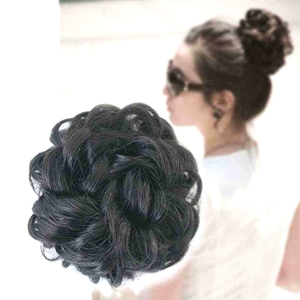 Ladies Wavy Curly Wigs Dish Faux Hair Bun Extension Hairpiece Scrunchie Chignon