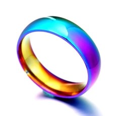 Steel, rainbow, Fashion, wedding ring