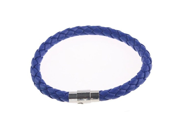 Unisex Women Men Genuine Braided Leather Steel Magnetic Clasp Bracelet Bangle