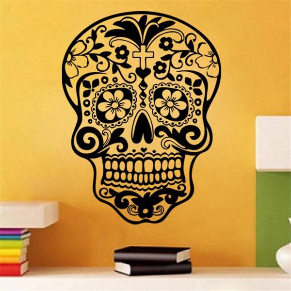 Wish   Skull Wall Sticker Skull Punk Rock Creative Personality ...