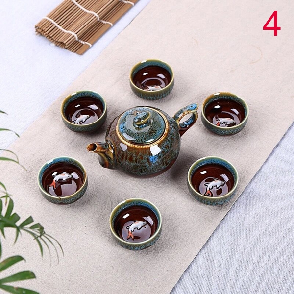 7 Pc Chinese Tea Set Fine Tea Pot Tea Cups Traditional Jingdezhen by Wish