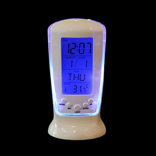 Picture of Digital Lcd Alarm Led Clock Calendar Thermometer Datetime Watch Service Night Light Alarm Clocks Despertado Color White