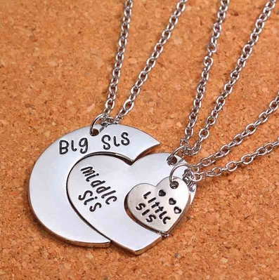 Chic 3pcs/1 set Big Sis/Middle Sis/Little Sis Moon Heart Silver Charm Pendant Necklace Family Jewelry Gift