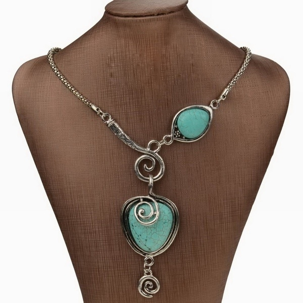 Heart, Turquoise, Jewelry, Chain