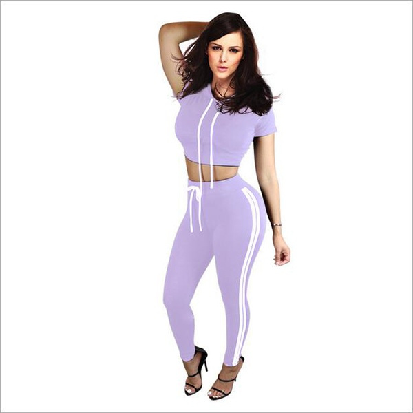 New Women Tracksuit Cotton Sport Suit Hoodies Top and High Waist Skinny Jogger Pants