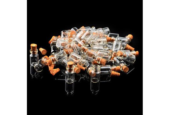 100*Mini 0.5ml Clear Glass Bottle Wishing Bottle Vials Empty Sample Jars with Cork Stopper Message Weddings Wish Jewelry Party Favors