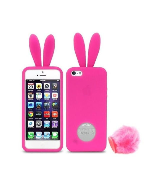 san francisco 104ad 5d502 iPhone SE Case, Silicone Case for Apple iPhone SE / 5S / 5 - Bunny with  tail - Hot Pink
