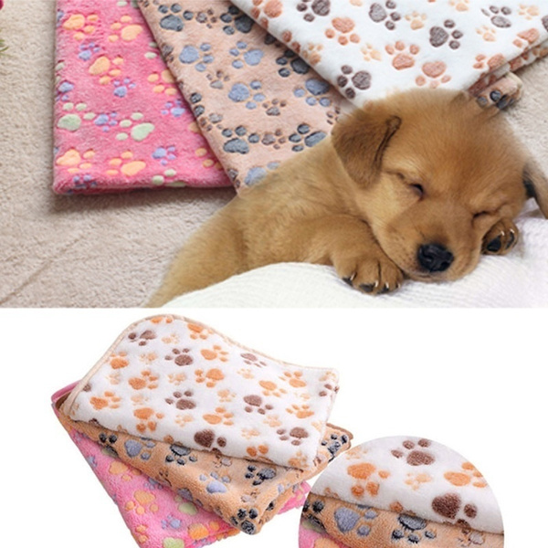 1pc Cute Pet Small Large Warm Paw Print Dog Puppy Fleece Soft Blanket Beds Mat (Size:60*40cm-23.6*15.7inch.)