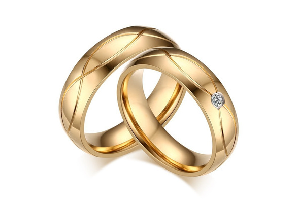 Fashion Lover Rings 1 Pcs Titanium Steel 18K Goldplated with Cubic Zirconia Ring for Women Men Wedding Bands Accessories