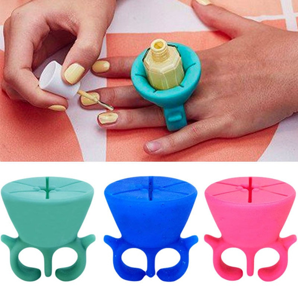 Wearable Nail Polish Bottle Holder Silicone Display Manicure 8 colors