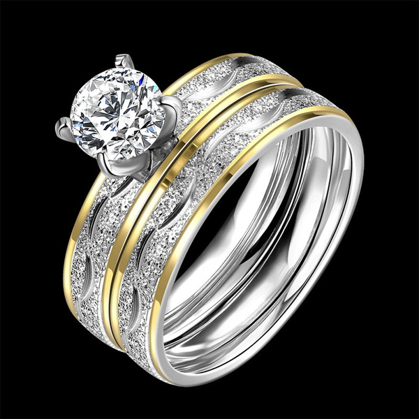 Fashion Zircon Double Ring Titanium Steel Wedding Rings For Women Men