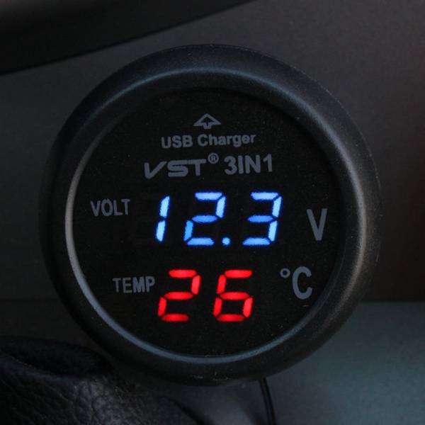 USB Charger 12V 24V Car Green LED Digital Voltmeter Volt Tester Thermometer