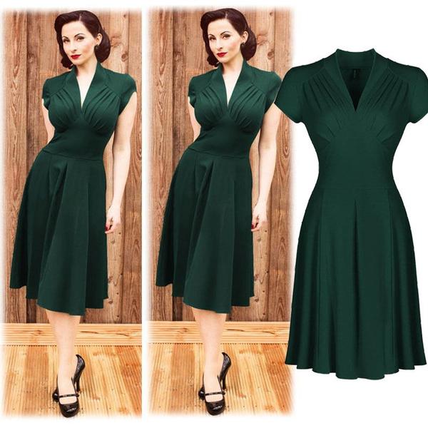 Fashion Vintage Style Retro 1940s Shirtwaist Flared Party Tea elegant Women  Dress Summer Dress Swing Skaters Size 8,18
