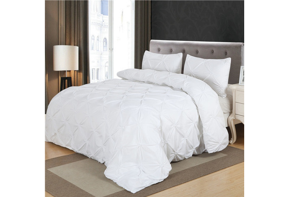 Home bedding Sets white Pinch Pleat duvet cover set Twin queen king size