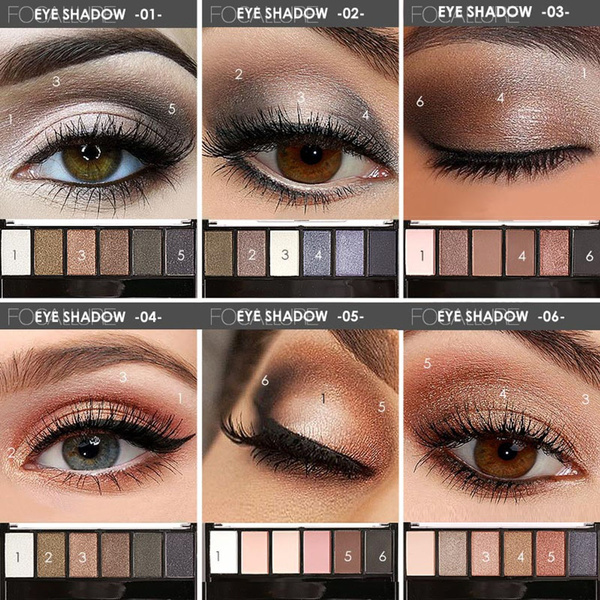 Picture of 6 Colors Cosmetic Eyeshadow Matte Shimmer Eye Shadow Palette With Mirror Eye Shadow Sponge